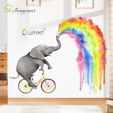 Large Rainbow Elephant Wall Stickers Kids Room Decoration Self Adhesive Sticker Bedroom Decor Living Room Wall Decor Home Decor Wall Stickers Aliexpress