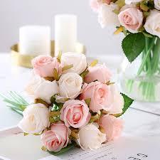 باقة ورد اصطناعية 12 قطعة زهور حرير مزخرفة باقات للعروس لتزيين