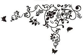 Amazon Com Kiki Monkey Black White Flower Vine Vinyl Wall Decal For Living Room Home Kitchen