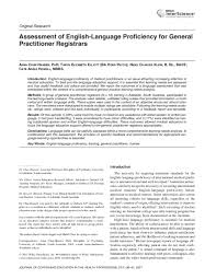 PDF) Assessment of english-language proficiency for general practitioner  registrars   Taryn Elliott - Academia.edu