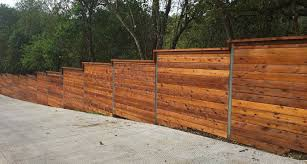 Horizontal Fence On A Slope Sloped Yard Modern Fence Horizontal Fence