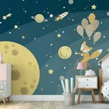 Childrens Bedroom Wallpaper Space Fox 368x254cm Wall Mural For Kids Room Moon 5057582205120 Ebay