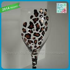 cheetah print hand painted wine glass