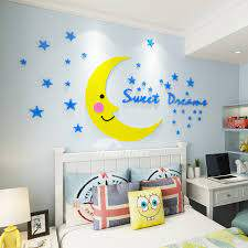 Cartoon Moon Star 3d Wall Stickers Kids Room Acrylic Stickers Bedside Background Cute