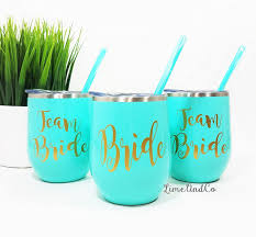 Amazon Com Team Bride Personalized Stainless Steel Wine Tumbler Custom Wine Glass Bridesmaid Gift Bachelorette Party Cup Bachelorette Party Favor Vinyl Decal Tumbler With Lid Straw Magnolia Sky Handmade