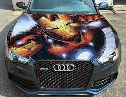 Vinyl Car Hood Wrap Full Color Graphics Decal Iron Man Tony Etsy