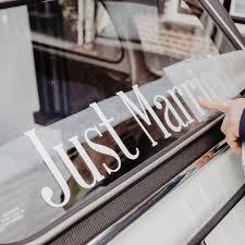 Font 1 Just Married Raamsticker Wedding Car Window Decal Match Set Love