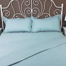 pure linen flat sheet light blue slate