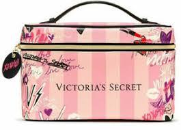 pink striped cosmetic bag makeup train