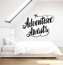 Vinyl Wall Decal Adventure Awaits Motivation Quote Airplane Stickers 3338ig Ebay