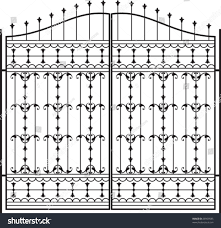 Wrought Iron Gate Door Fence Window Stock Vector Royalty Free 29959585