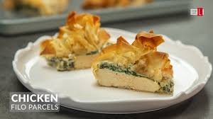 en and cream cheese filo parcels
