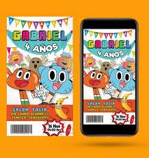 Invitacion De El Mundo De Gumball 50 00 En Mercado Libre