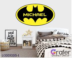 Batman Logo Decal Batman With Name Batman Wall Sticker Marvel Comics Kids Bedroom Decal Avenger Wall Decal Nursery Wall Decal