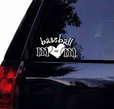 Amazon Com Tshirt Rocket Baseball Mom Decal Personalize Number Baseball Mom Vinyl Car Decal Laptop Decal Window Sticker 8 White Automotive