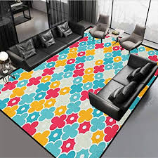 Quatrefoil Kids Area Rug Home Decorate Floor Playing Mat Colorful Petal Clover Leaves Pattern Bohemian Casual Theme Red Turquoise Yellow 72 By 48 Educational Toys Planet