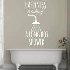 Happiness Taking Long Hot Shower Quote Vinyl Wall Decal Bathroom Decor Customvinyldecor Com