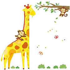 Decowall Dm 1511 Giraffe Height Chart Kids Wall Decals Stickers Peel And Stick Removable For Nursery Bedroom Living Room Educational Toys Planet