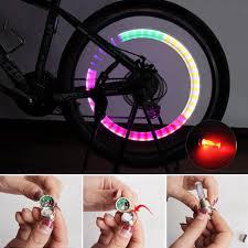 1 chiếc Đèn LED Gắn Xe Đạp Núi Đường Xe Đạp Xe Đạp Đèn Lốp Lốp Xe Nắp Chụp  Van Bánh Xe Vành Nan Hoa Đèn LED Xe Đạp Đèn 7 màu #