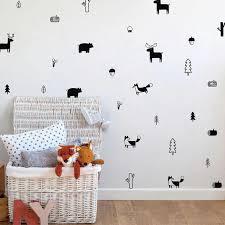 Cute Nordic Forest Animal Wall Decals Nursery Wall Decor Bear Fox Rein Nordicwallart Com