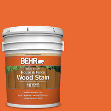 Behr 5 Gal 220b 7 Electric Orange Solid Color House And Fence Exterior Wood Stain 03005 The Home Depot
