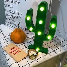 Penxina Cactus Light Led Cactus Lamp Cute Night Table Lamp Battery Operated Marquee Light For Kids Room Bedroom Gift Party Home Wall