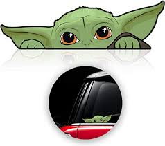 Amazon Com Baby Yoda Decals Stickers For Car Window Laptop Luggage Skateboard Bike Mandalorian Stickers Decal Window Accessories 3 Pack Kitchen Dining