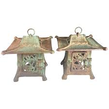 japanese rare pair of old flowers and