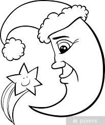 Deursticker Maan En Ster Kerst Kleurplaat Pixers We Leven Om
