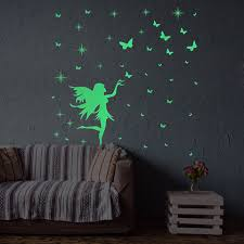 Wall Stickers Butterfly Girl Fairy Luminous Cartoon Kids Removable Vinyl Wall 3d Stickerhome Decoration Accessories Deco Mural Wall Stickers Aliexpress