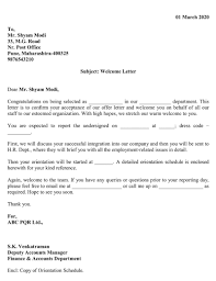 employee welcome letter excel template