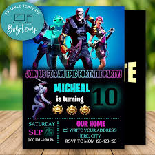 Editable Fortnite Season 11 Fortnite Boy Birthday Invitation Diy