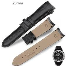 23mm black curved leather watch strap