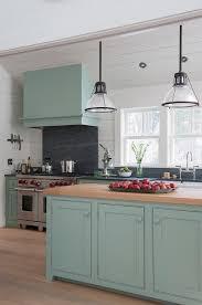light blue kitchen hood on sloped