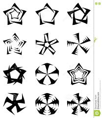 Odosobniony Set Gwiazda Tatuaz W Czerni Ilustracja Wektor