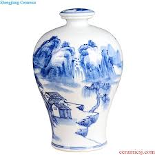 hand painted bottle bottle is blue and