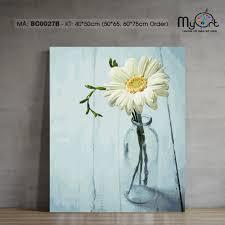Tranh tô màu sơn dầu số hóa - Mã BC0027B Hoa đồng tiền DIY Tranh lọ hoa  trang trí treo tường làm quà tặng