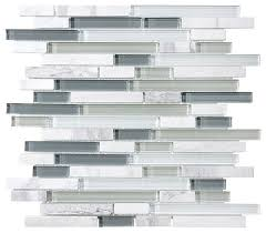 stone and glass linear mosaic tile