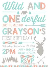 Wild And One Birthday Party Invitation Invite Woodland Deer Forest