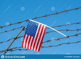American Flag On Barbed Wire Fence Stock Photo Image Of Border Refugee 129434892
