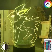 Jolteon Figure Boy Game Pokemon Go Jolteon Night Light 3D LED Table Lamp  Kids Birthday Gift Bedside Room Decoration: Amazon.co.uk: Lighting