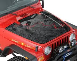Jeep Wrangler Tj Blackout Topographic Map Adventure Trip Vinyl Hood Decal