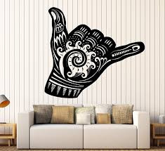 Amazon Com Large Vinyl Wall Decal Shaka Sign Hang Loose Surfing Wave Stickers Mural Ig4365 White Home Kitchen
