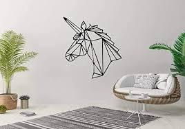 Amazon Com Vinyl Sticker Unicorn Horn Hosre Mythical Creature Animal Geometry Design Tattoo Mural Decal Wall Art Decor Eh1215 Handmade