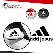 Jesus Adidas Logo Sticker Png Vinyl Decal For Cars Windows Walls Mymonkeysticker Com