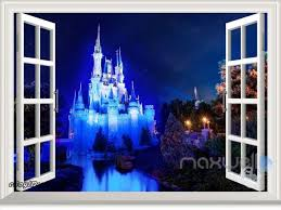 Disney Princess Magic Castle Night 3d Window Wall Decal Girl Sticker Party Decor For Sale Online