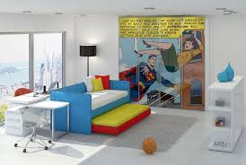 Love This Pop Art Interior With Its Poster Application Writ Large Lichenstien And Warhol Knock Off Who In Turn Ap Kids Room Design Superhero Room Comic Room