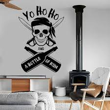 Yo Ho Ho A Bottle Of Rum Pirate Skull Wall Stickers Vinyl Nautical Home Decor Interior Boys Room Kids Bedroom Decals Mural A187
