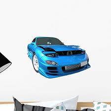 Amazon Com Wallmonkeys Mazda Rx 7 Blue Car Wall Decal Peel And Stick Decals For Boys 18 In W X 15 In H Wm102347 Home Kitchen