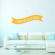 Buy Vinyl Wall Art Decals Congratulations Banner 13 X 45 Best Wishes Celebrate Home Work Place Stencil Adhesives Fun Happy Decal For Office Living Room Bedroom Dorm Room